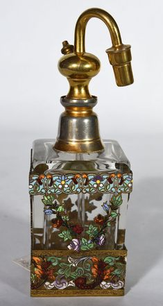 Antique French Enameled Perfume Atomizer Made in France - Sax Kay Detroit Paris