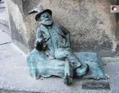 """in Wroclaw """"little Freud"""" the Gnome, sits back on his psychiatrists couch."""