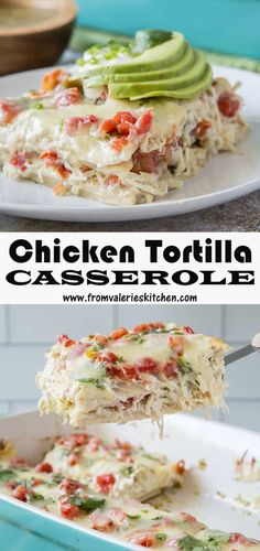 This flavorful Chicken Tortilla Casserole with Salsa Verde is a snap to put together thanks to rotisserie chicken and a few pantry staples. This quick and easy recipe is a great meal solution for a busy week! Chicken Tortilla Casserole, Casserole Dishes, Casserole Recipes, Salsa Verde, Mexican Dishes, Mexican Food Recipes, Main Course Dishes, Main Dishes, Chicken Flavors