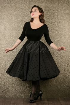 Bunny Tara Black Polkadot Swing Skirt 122 10 17479 20151118 003W