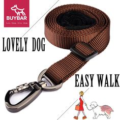 BUYBAR Dog Leash Chrome Metal Lock Adjustable Durable Nylon cat Leash With Comfortable Padded Handle Great for Walking, Hiking and Training *** Hurry! Check out this great product : Cat Collar, Harness and Leash