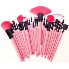 Zicac 24PCS Soft Cosmetic Makeup Brush Set Pink Pouch