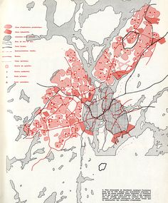 Beautiful Cartographies Simplicity in representation of urban plans always works. This is an example, a Stockholm overview plan showing the extension taken for the city from then about forty years from primitive plan. Architecture Mapping, Architecture Graphics, Architecture Drawings, Architecture Diagrams, Architecture Portfolio, Urbane Analyse, Bts Design Graphique, Urban Mapping, Map Diagram