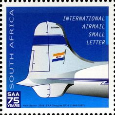 Stamp: Douglas Skymaster (South Africa) Anniversary of South African Airways) Mi:ZA Douglas Dc 4, Union Of South Africa, Small Letters, My Childhood Memories, Afrikaans, African History, Stamp Collecting, My Stamp, Historical Photos