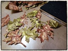 Tattered leaves made out of glassine