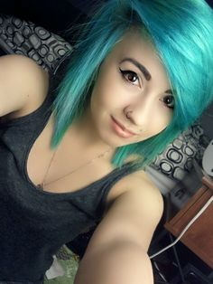 her face and hair cut! I WANT TEAL HAIR! STUPID JOB! :(