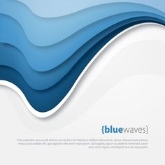 Blue Waves Vector Graphic — template, abstract