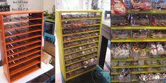 "craft room storage / display for 1 "" pins"