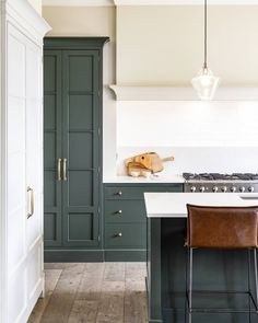 We love how this stylish kitchen came together. Our in-frame shaker cabinetry is painted in studio green by @farrowandball and finished…