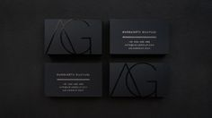 Azia Group Business Cards by Rouline Siauw. Black on black Spot UV Varnish and silver foil on black card #businesscard