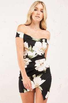 47beb45847e8 Off Shoulder Floral Tulip Skirt Bodycon Mini Dress in Black Floral