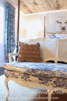 Vintage Cane Settee Makeover with Annie Sloan Old White and Blue Toile Fabric via Heathered Nest