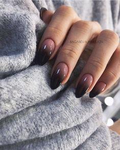 Cute Nails, Pretty Nails, My Nails, Dark Nails, Dark Nail Art, Short Nails Art, Long Nails, Black Almond Nails, Short Almond Nails