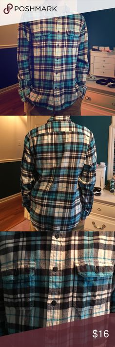 Male Button down flannel. Male blue striped Button down flannel. Lightly used but in great condition. Athletic fit size M. 100% cotton. American Eagle Outfitters Shirts Casual Button Down Shirts
