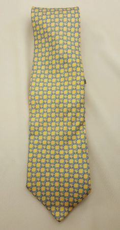 Brooks Brothers Neck Tie Yellow Blue Pure Silk EUC Free Ship #BrooksBrothers #Tie