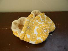 Baby Shoes, Baby Booties - Organic Yellow Flower. $19.00, via Etsy.