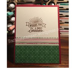 Come join our blog hop. Rachthestamper.wordpress.com. Stampin up. Christmas in July. Cherry cobbler. Garden green. Spinner cards. This Christmas DSP.  Inside