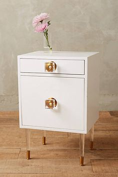 Lacquered Regency Nightstand - glossy-smooth lacquer finish, brass & lucite hardware & legs