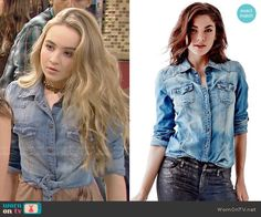 Maya's denim shirt on Girl Meets World.  Outfit Details: http://wornontv.net/52938/ #GirlMeetsWorld