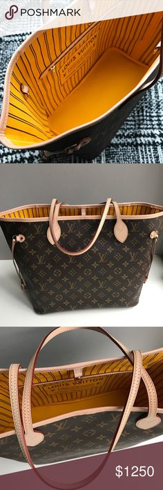 Louis Vuitton Neverfull MM yellow monogram LOOKS BRAND NEW!!! Excellent condition.  Guaranteed authentic. Louis Vuitton Bags Totes