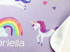 Snuggle your sweetheart in this soft, silky, custom baby unicorn blanket. This adorable, dreamy microfleece blanket is perfect for a unicorn or rainbow themed nursery or bedroom. These blankets also make for beautiful, unique gifts - perfect for a birthday, baby shower, christening, Easter or Christmas! Custom baby unicorn blanket, blanket baby unicorn, unicorn blanket baby, baby blanket unicorn, unicorn blanket gift, unicorn blanket throw