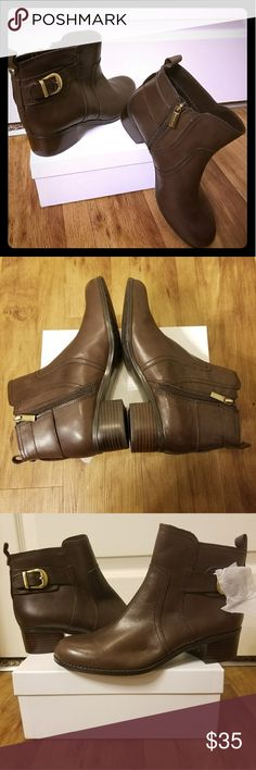 NWOT Brown Leather Boots Brand new Bandolino boots with gold hardware.  Small scuff shown in picture. Bandolino Shoes Ankle Boots & Booties