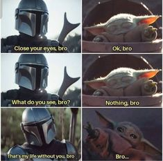 The Mandalorian and The Child aka Baby Yoda (Star Wars) Bro Really Funny Memes, Stupid Funny Memes, Funny Relatable Memes, Funny Stuff, Hilarious, Yoda Meme, Yoda Funny, Bro Meme, Star Wars Baby