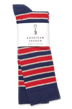 These sock would look perfect with a pare of P. F. Flyers and some thick cuffed selvage denim. American Trench Triple Stripe Sock Navy Red - available from @bridgeandburn