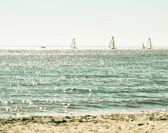 Sailboats and Beach Photograph. Turquoise Water and Sandy Beach Photo. Print via Etsy Rio, Thing 1, Am Meer, Salt And Water, Water Water, Beach Photography, Beach Photos, Places To See, Seaside