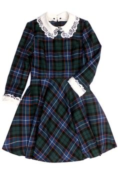 Jane Marple A/W 2013 Blue and green plaid with white lace collar