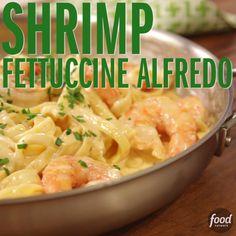 Shrimp Fettucine Alfredo hits the spot every time! Shrimp Fettucine Alfredo hits the spot every time! Fish Recipes, Seafood Recipes, Dinner Recipes, Shrimp Pasta Recipes, I Love Food, Good Food, Yummy Food, Tasty, Shrimp Dishes