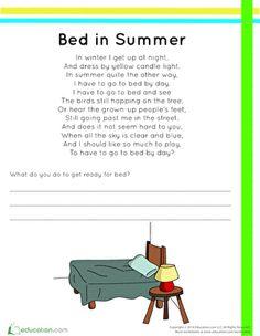 Summer Summer Reading Kindergarten Rhyming Worksheets: Bed in Summer Rhyme