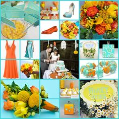 pinterest yellow and orange Wedding decor | Orange and Teal Wedding Colors