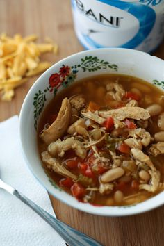 Slow Cooker Chicken and White Bean Soup with Quinoa | AggiesKitchen.com #prepday