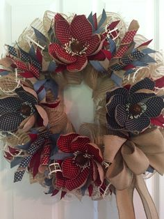Patriotic Wreath, Americana Wreath, Fourth of July Wreath, Wreath, 4th of July Wreath, Burlap Wreath, USA, Magnolia Wreath, Red White Blue by RoesWreaths on Etsy https://www.etsy.com/listing/237904567/patriotic-wreath-americana-wreath-fourth