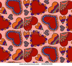 Cute seamless pattern. Heart. Hand drawing. Doodle decoration, design. Love. Sketch. Pink background #bubushonok #art #bubushonokart #design #vector #shutterstock #pattern #fabric #seamless #doodle #ornament