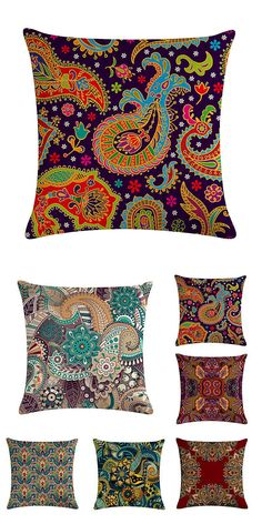 Bohemian Pillowcase Creative Printed Linen Cotton Cushion Cover Home Sofa Decor Throw Pillow Cover