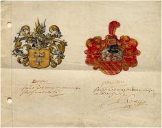 De Wapens Beens ( sijnde het wapen van mijn stieffmoeder saliger) en Pinelle (sijnde het wapen van mijn moeder saliger ) gesigneerd C. v. Renesse 1666