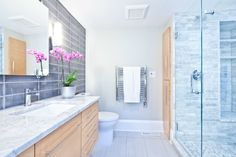 Single Family Bathroom Design Trends for Model Homes Add A Bathroom, Family Bathroom, Hanging Drywall, Vinyl Replacement Windows, Recessed Ceiling Lights, Bob Vila, Tile Projects, Model Homes, Master Suite