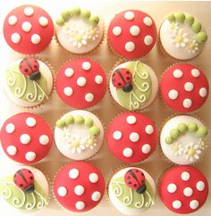 Lady Bug and Worm cupcakes