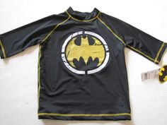 Batman Graphics 3/4 Raglan Sleeve Stretch Tee Swimwear Shirt Sizes 6, 8, 10 NWT #TMDCComics.  For everyday wear, or match to Batman swim trunks.