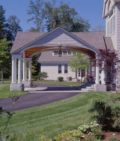 how would this look with our gable front?roofline, but beams instead of columns