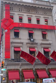 Cartier Christmas Windows NYC, there is a giant ribbon on the building! @Amy Lyons Lyons Lyons Davis
