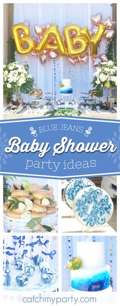 Check out this fantastic blue jeans inspired Baby Shower. The decorated cookies are adorable. See more party ideas and share yours at CatchMyParty.com