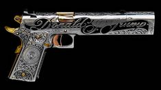 On display at the Jesse James Firearms Unlimited booth at SHOT Show, is a beautiful hand-made 1911 pistol that James made for his good friend Donald Trump. Weapons Guns, Guns And Ammo, Custom Guns, Custom 1911 Pistol, Templer, Metal Engraving, Jesse James, Cool Guns, Gravure