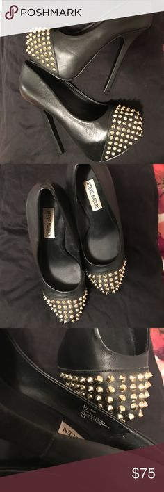 Steve Madden Studded Bolddd Heels Amazing shoe. Hate to let go. Never worn outside the home. So that's the unfortunate reasoning I am. Any questions. Please ask. Steve Madden Shoes Heels