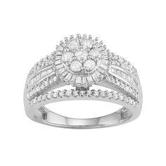 10k White Gold 1 Carat T.W. Diamond Flower Halo Ring, Women's, Size: 7