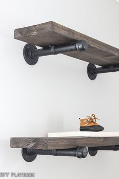 A DIY tutorial for galvanized pipe shelves. Such an easy project with major style. Love the look of these rustic and industrial shelves.
