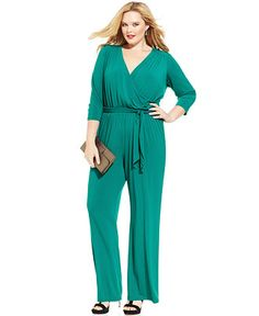 "belted plus size jumpsuit - 34"" inseam"