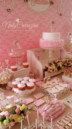 Shabby chic treats at a pink baptism party! See more party planning ideas at CatchMyParty.com!